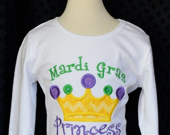 Personalized Mardi Gras Princess Crown Applique Shirt or Onesie Girl or Boy
