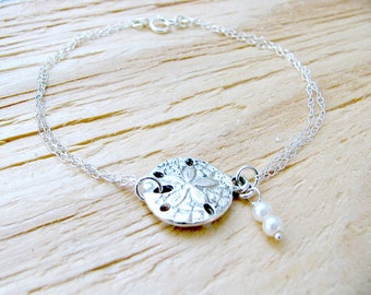 Silver Sand dollar Bracelet & Pearl 925 Sterling Silver Bracelet Pearl Bracelet Sand dollar jewelry Beach Wedding Bridesmaid Gifts bracelet
