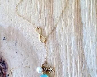 14k Gold Filled Infinity Lariat Aqua Gemstone Lariat Pearl Starfish Infinity Jewelry Aqua Jewelry Bridesmaid Sets beach Wedding Jewelry gift