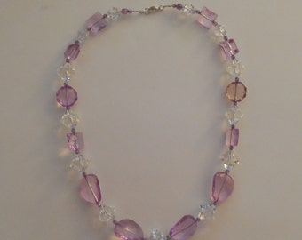 Bold Lavender and Clear Acrylic Necklace - Handmade