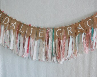 Personalized Customizeable Burlap Name Banner