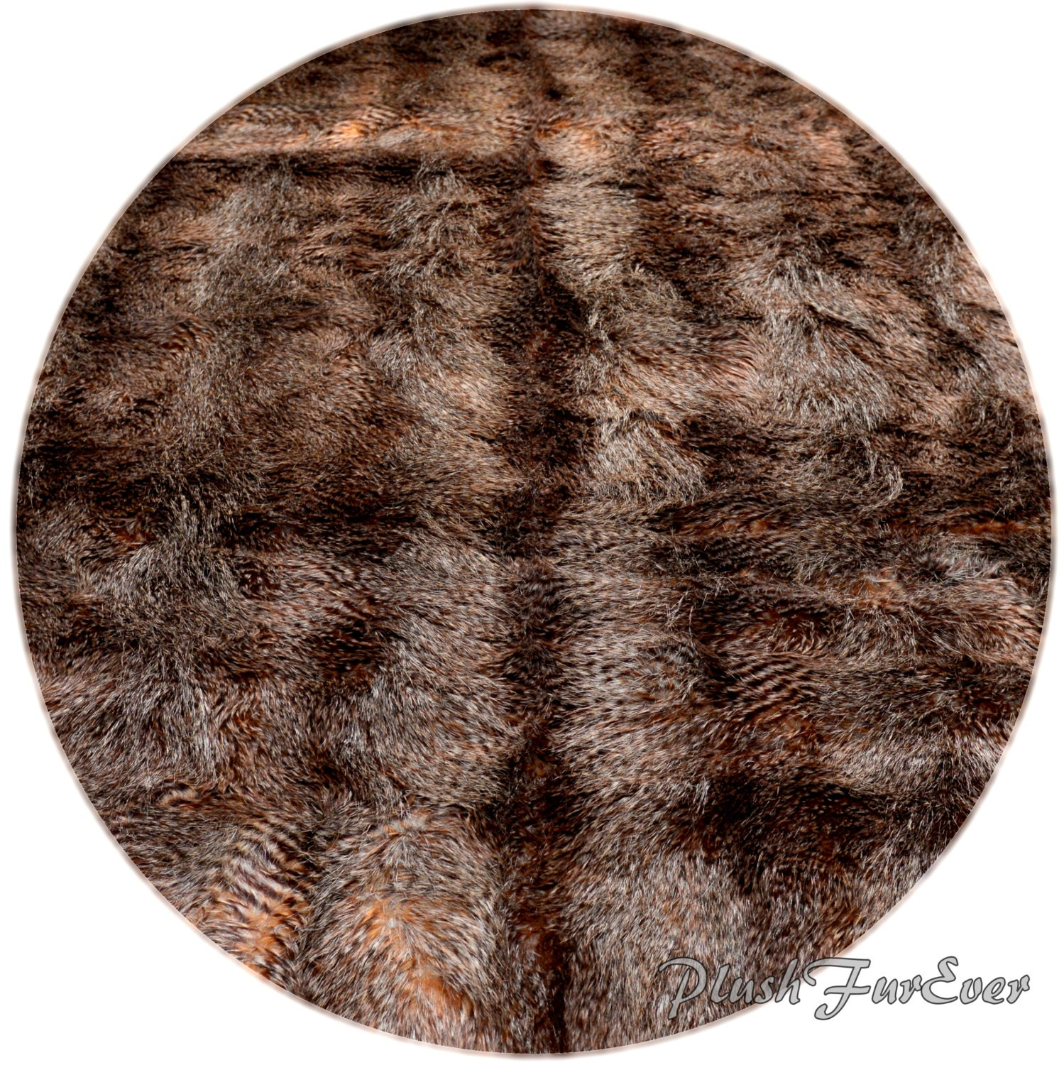 Brown Raccoon Plush Fur Round Faux Fur Rug Area Round Rugs