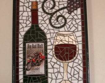 Unique Label  Wine Bottle Mosaic Glass Serving Tray ~ Wall Art