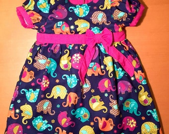 Girls Dress - Elephant Dress - Baby Girls 1st Birthday Party Outfit - Gift for Newborn Baby Girl -Elephant Outfit - Birthday Dress