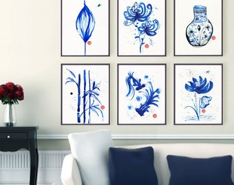 Asian art, Watercolor painting, Set of 6 Blue and white artwork, Living room art, China vases Oriental chic art print, Chinese painting