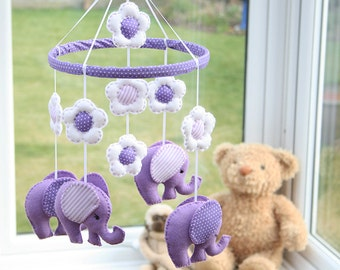 Lilac Mobile  - polka dots stripes -   Elephant Mobile -  Nursery Mobile -Baby Mobile -  MADE TO ORDER