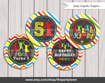 Jump Cupcake Toppers, Bounce House Cake Toppers, Decorations Birthday Printables, Jump party printable Printable DIY