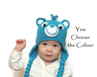 Care Bear Hat, Newborn Care Bear Hat, Newborn Girl Hat, Newborn Boy Hat, Toddler Care Bear Hat, Kids Care Bear Hat, Newborn Photo Prop