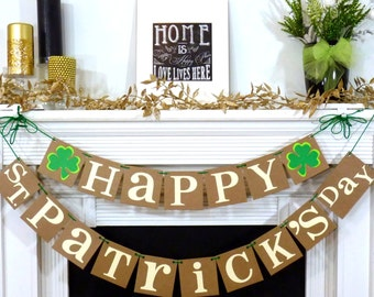 Happy St. Patricks Day / Irish Sign / Decoration Banner / Happy St Patricks Day Banner / St. Patricks Decorations / Photo Prop / Clover