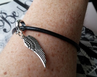 Supernatural inspired charm bracelet - black leather cord bracelet with angel wing charm