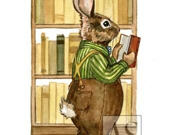 Literary Rabbit (original art)