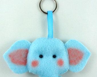 Felt Keychain. Felt Keyring. Felt Elephant Keychain. Elephant Keyring. Soft Felt Elephant. Ornament. Bag Charm.