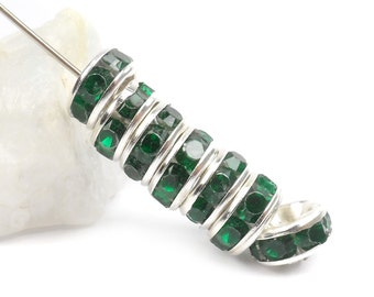 8 mm Emerald Green Rhinestone Crystal Spacers, 20 pc. Rondelle Spacers F43