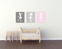 Baby Girl Nursery Art Print, Ballerina Nursery Wall Art Prints, Gray Pink Nursery Art, Bedroom Decor N366,368,369