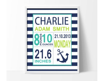 Navy Blue Nursery Birth Stats Personalized Baby Name with Anchor for Baby Boys Bedroom Decor - N1174-Unframed