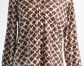 Vintage 1970's Brown Geometric Print Disco Shirt (Size 14 Aust / 10 USA / 14 UK)