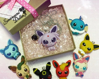 Kawaii Eeveelutions forms Necklace - Pokemon - Eevee - Made to order as is