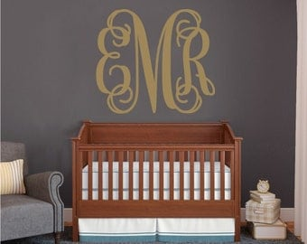Personalized Monogram Wall Decal Vines, Wall Decor, Vinyl Wall Decor, Bedroom Decal, Family Room, Home Decor, Bedroom Decor, Nursery Decor