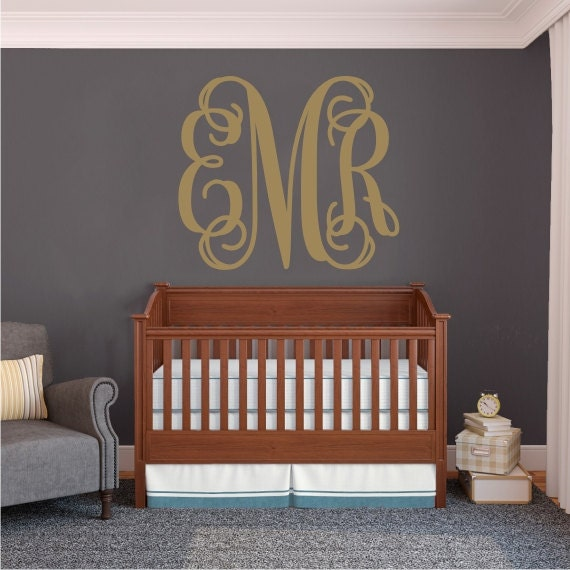Personalized Monogram Wall Decal Vines Wall Decor Vinyl Wall