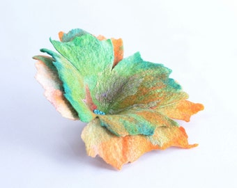 Huge flower brooch 15% OFF - large green & orange brooch for women - unique felted jewelry, fiber art, felt floral brooch [B48]
