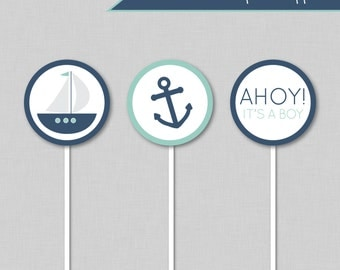 Nautical Cupcake Toppers, Nautical Birthday, Nautical Baby Shower, Ahoy its a Boy Baby Shower, Cupcake Toppers, Nautical Party, Nautical