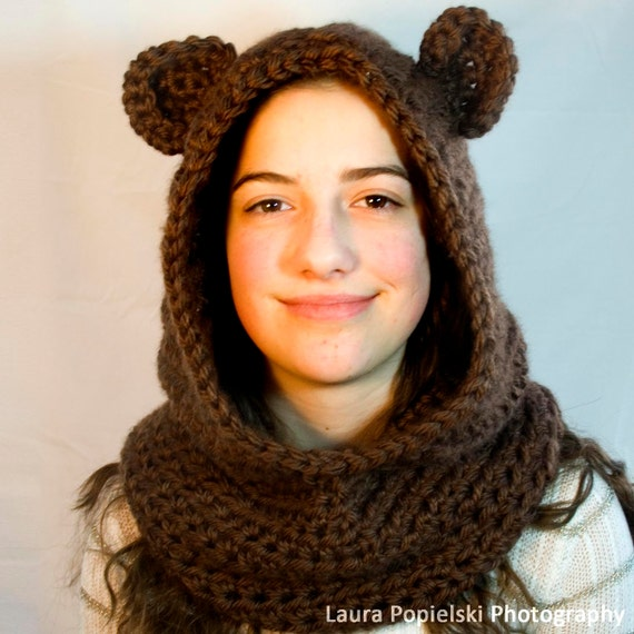 Bear Cowl - Brown Bear Cowl - Crochet Bear Cowl - Crocheted Bear Cowl - Crochet Brown Bear Cowl - Crocheted Brown Bear Cowl - Handmade Cowl