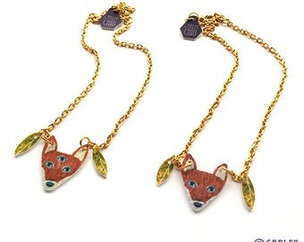 Fox Necklace - quirky gift for birthdays, Valentines day and for her - teens, teenagers, children , kids, mothers, girlfriends, girls, women