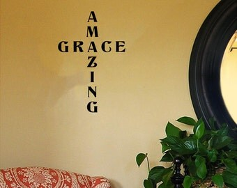 """Amazing Grace (in the shape of a cross) Religious/Spiritual Wall Decal (16""""w x 23""""h)"""