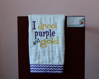 Purple and Gold LSU Baby, Personalized Baby Burp Cloths, Burp Rag,Burpies, I drool Purple and Gold