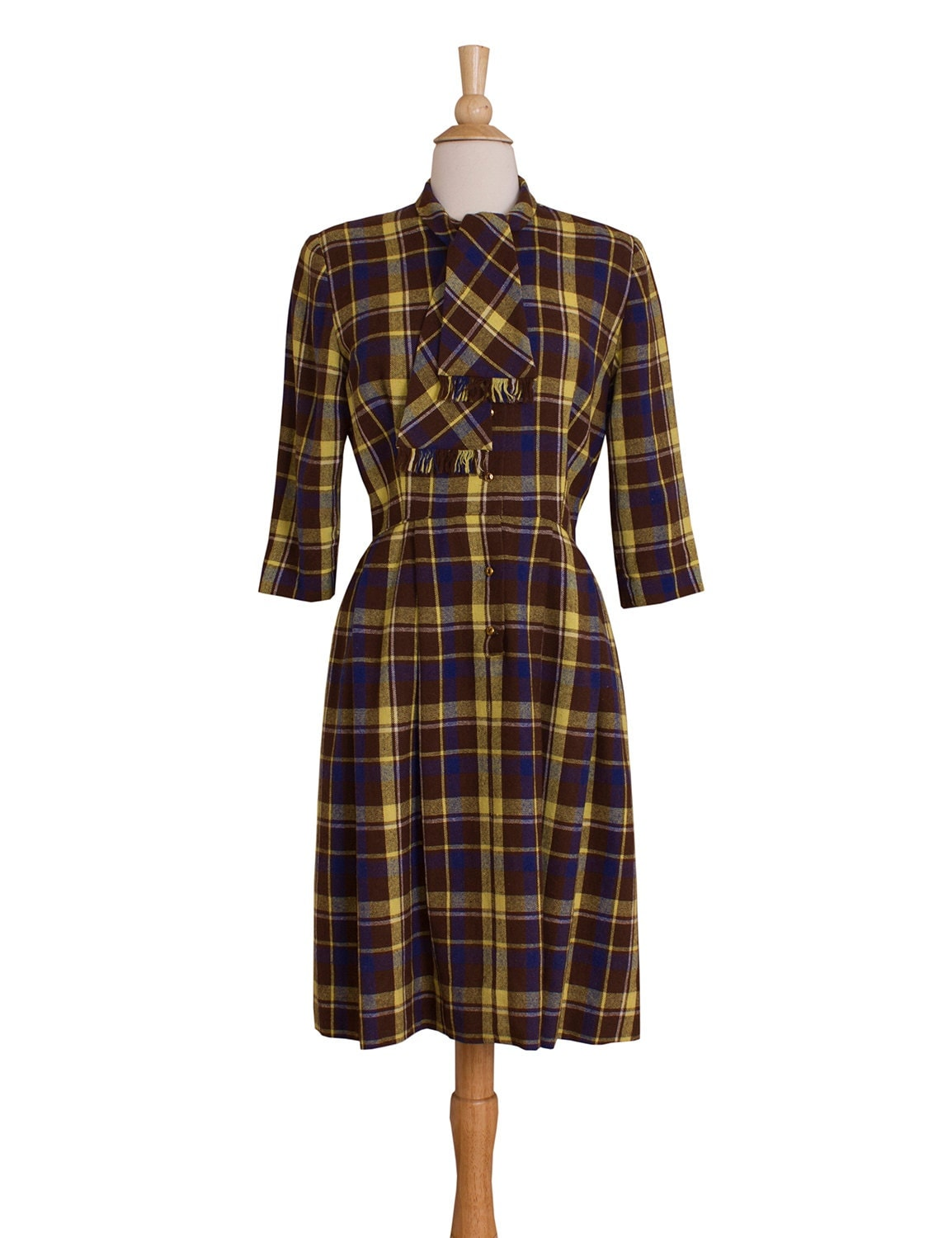 1960s Vintage Brown Blue and Yellow Plaid Day Dress Micentury