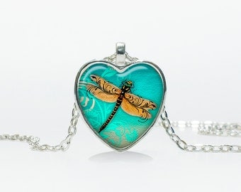Dragonfly pendant Dragonfly Heart necklace Heart jewelry  Heart shape Christmas gift