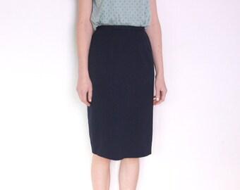 90's navy blue pencil midi skirt, secretary skirt, office skirt, high waisted skirt, pin up skirt, minimalist skirt size small