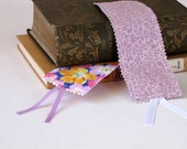 Fabric bookmarks with ribbon, purple floral theme: SET OF TWO bookmarks; floral bookmark; ribbon bookmarks; thin bookmarks