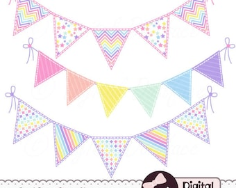 Cute, Digital Scrapbook Bunting Clip Art, Pastel Rainbow Pennant Banner Clipart, Triangle Bunting Graphics