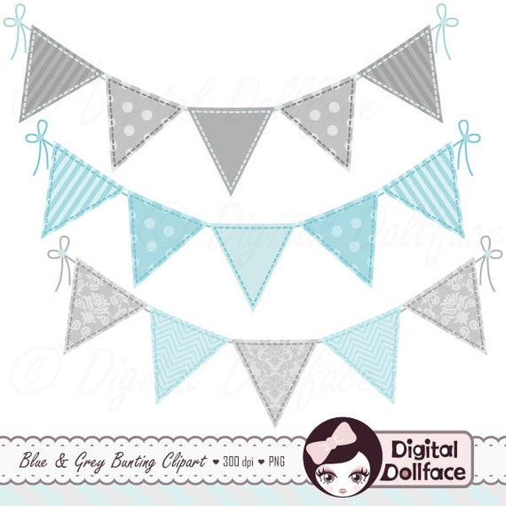 Blue Bunting Garland Clipart, Baby Boy Banner Clip Art For Blue And Grey Baby  Shower Graphics
