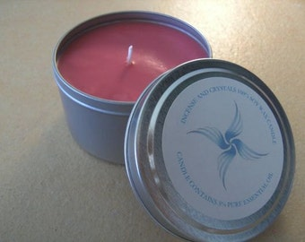 Hand Poured Soy & Beeswax Large Candle-tin with YLANG YLANG Essential oil 35+ hr burn time
