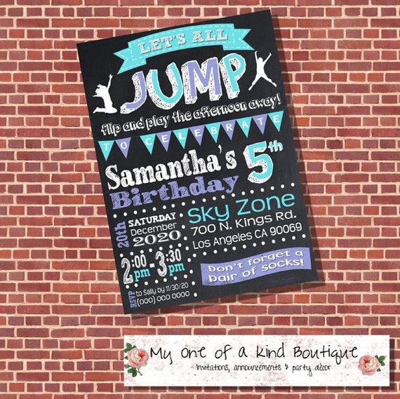 Trampoline Party Invitations: Trampoline Birthday Party Invitation Jump Invite Teal Purple