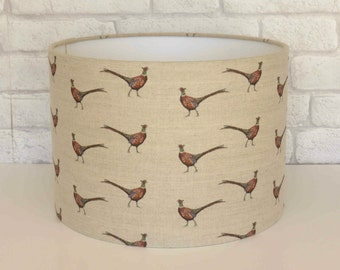 Handmade Linen lampshade in Pheasant design - MADE TO ORDER