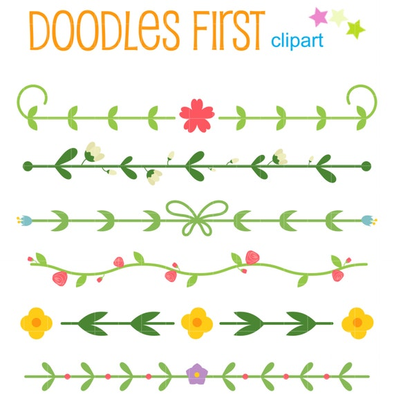 Simple Floral Border Set Clip Art for Scrapbooking Card Making