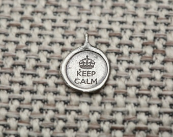Keep Calm and Carry On Necklace, Message Sterling Silver Necklace, Vintage Wax Seal Saying Necklace
