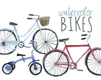 Watercolor Bikes Clip Art, Bicycle Clipart, Bike Clip art, Watercolor tricycle, Bike Clipart, Transportation Clipart, Eco Friendly Clipart
