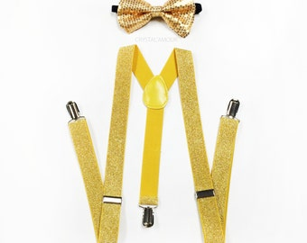 Gold Sequin bowtie and suspenders, yellow glitter suspenders, shiny bowtie and suspenders set, Holiday Outfit attire