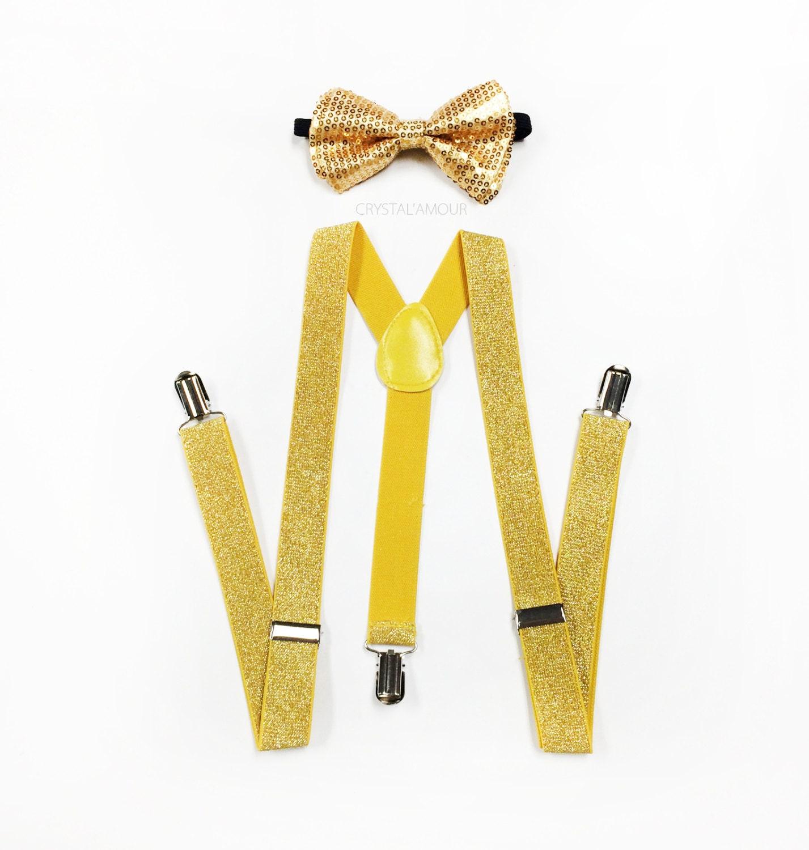 gold sequin bowtie and suspenders yellow glitter suspenders