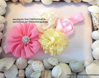 Easter Headband, Pink, Ivory and Yellow Spring Headband, Pastel Headband, Photo Prop Easter Headband, Newborn Girls Easter Headband