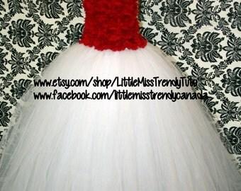 Girls White and Red Flower Girl Ballgown Tutu Dress, Jr Bridesmaid Tutu Dress