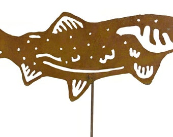 Salmon Metal Garden Stake, Yard Art GS46
