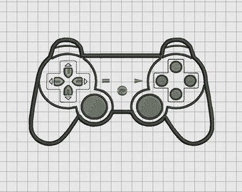 Video Game Controller Sony Playstation PS3 PS2 Style Applique Embroidery Design in 4x4 and 5x7 Sizes
