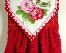 Valentine's Day Hanging Hand Towel, Roses Kitchen Towel, Valentine Heart Hanging Towel, Cottage Chic Valentine Decor, Heart Kitchen Decor