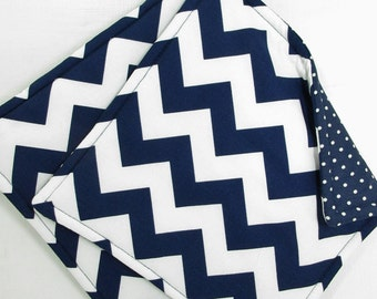 Navy Blue Chevron Potholders, Set of 2 Handmade Chevron Potholders, Navy Chevron Kitchen Decor, Navy Kitchen Decor, Navy Chevron Hot Pads