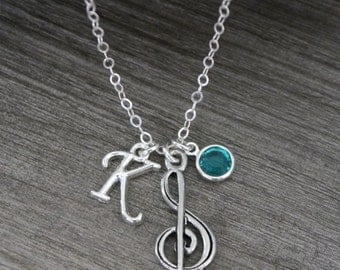Music Necklace, Treble Clef Necklace, Music Jewelry, Music Graduation Gift, Music Note Necklace, Music Charm Necklace, Singing Necklace